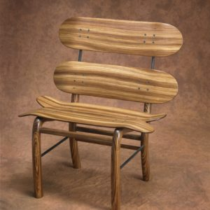 Zebra Wood Skateboard Chair
