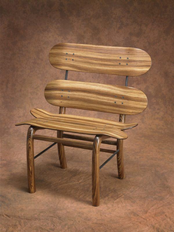 Zebra Wood Skateboard Chair